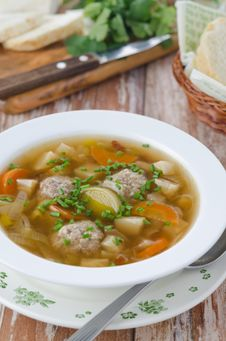 Free Vegetable Soup With Meatballs Stock Image - 28135051