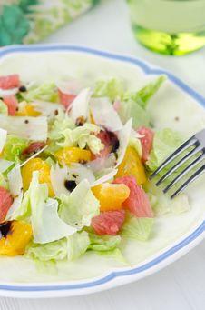 Salad With Grapefruit, Oranges, Iceberg Lettuce Stock Photos