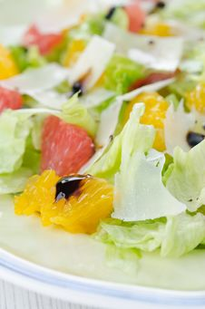 A Plate Of Salad With Citrus And Cheese Royalty Free Stock Photo
