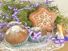 Christmas Muffins With Angel Stock Photo
