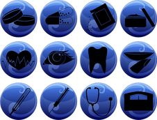 Free Medical Icons On Buttons Stock Photography - 28136522