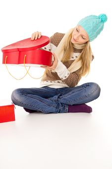 Free Girl Looks In A Gift Stock Photo - 28137680
