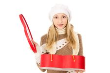 Free Girl In A Cap With A Gift Stock Image - 28137981
