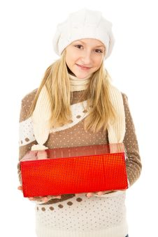 Free Girl Holding A Gift Box Stock Photo - 28138630
