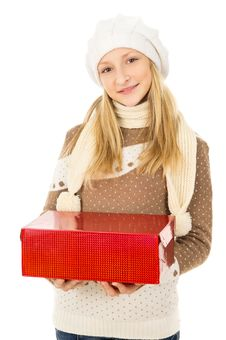 Free Girl Holding A Box Royalty Free Stock Photo - 28138675