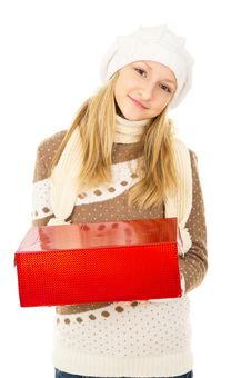 Free Girl With A Box Stock Photos - 28138703