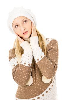 Girl In A Winter Cap Stock Photos
