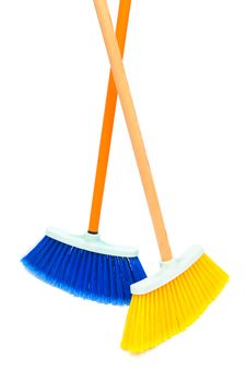 Two Brush The Floor Stock Image