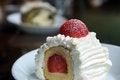 Free Vanilla And Cream Cake With A Strawberry Slice. Stock Photos - 28142813