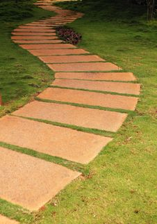Walkway Formed Using Granite Stone Stock Photos