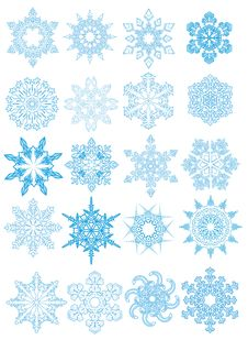 Decorative Vector Snowflakes Set Royalty Free Stock Images