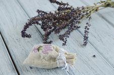 Free Lavender Aroma Bag On Wooden Background Stock Photos - 28146773
