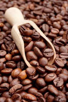 Free Coffee Beans And Wooden Scoop Stock Photography - 28148472