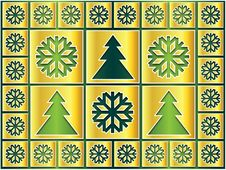 Golden Snowflakes And Trees On The Green Royalty Free Stock Photography