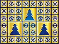 Free Christmas Icons Golden Snowflakes And Trees Stock Photo - 28149570