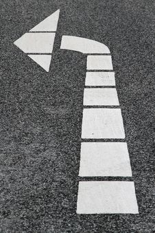 Turn Left Road Marking Royalty Free Stock Photo