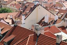 Tiled Roofs Of Prague, Czech Republic. Royalty Free Stock Photography