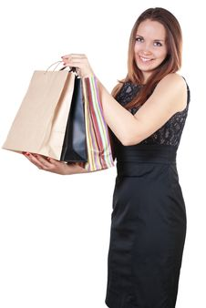 Free Beautiful Woman With Shopping Bag Royalty Free Stock Photos - 28152208