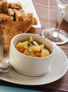 Chicken Soup With Vegetables Stock Photo