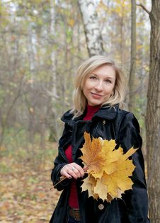 Woman Holding Autumn Leaves Royalty Free Stock Image