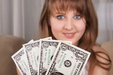 Free Dollars And A Teen Girl. Royalty Free Stock Images - 28155819