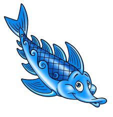 Blue Fish, Cartoon Royalty Free Stock Photo