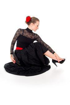 Free Girl In Dress Sitting Dancer Stock Photo - 28159250