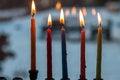 Free Hanukkah Menorah Chanukkiah With Candles Royalty Free Stock Photo - 28160555