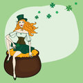 Free Leprechaun With Gold Coins, Vector Illustration Stock Photo - 28169450