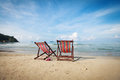 Free Two Bright Sun Loungers On The Beach. Royalty Free Stock Image - 28169846
