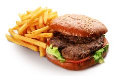 Free Hamburger And French Fries. Royalty Free Stock Photos - 28161018