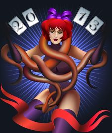 The Girl With Snakes In Blue Stock Photos