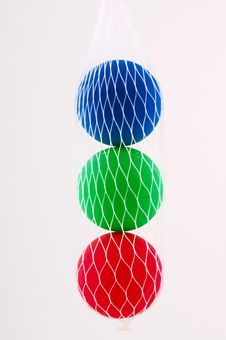 Three Balls In The Grid Royalty Free Stock Photos