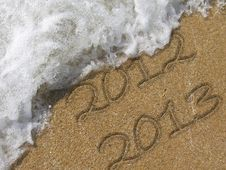 Free 2013 Written In The Sandy Beach Stock Photos - 28165493