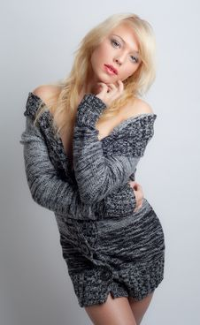 Free Beautiful Woman In Sweater Dress Stock Photography - 28166282