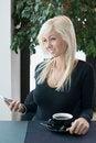 Free Girl Coffee And Phone Stock Photo - 28170260