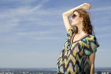 Free Beautiful Girl In Sunglasses On Background Blue Sky Stock Photos - 28171033