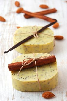 Olive Soap With Ingredients Stock Image