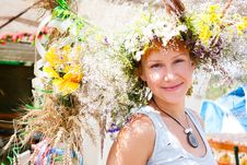 Free Young Smiling Woman With Summer Flowers Wreath On Head Stock Images - 28176384