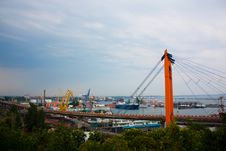 View On Port With Bridge And Ships Royalty Free Stock Photos
