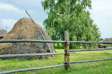 Free Haystack And A Birch In The Village. Stock Image - 28177921