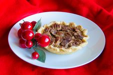 Free Pecan Tart With Christmas Decoration Royalty Free Stock Photography - 28179867