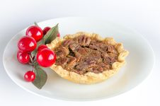 Free Pecan Tart On White Plate With Decoration Royalty Free Stock Photos - 28179998