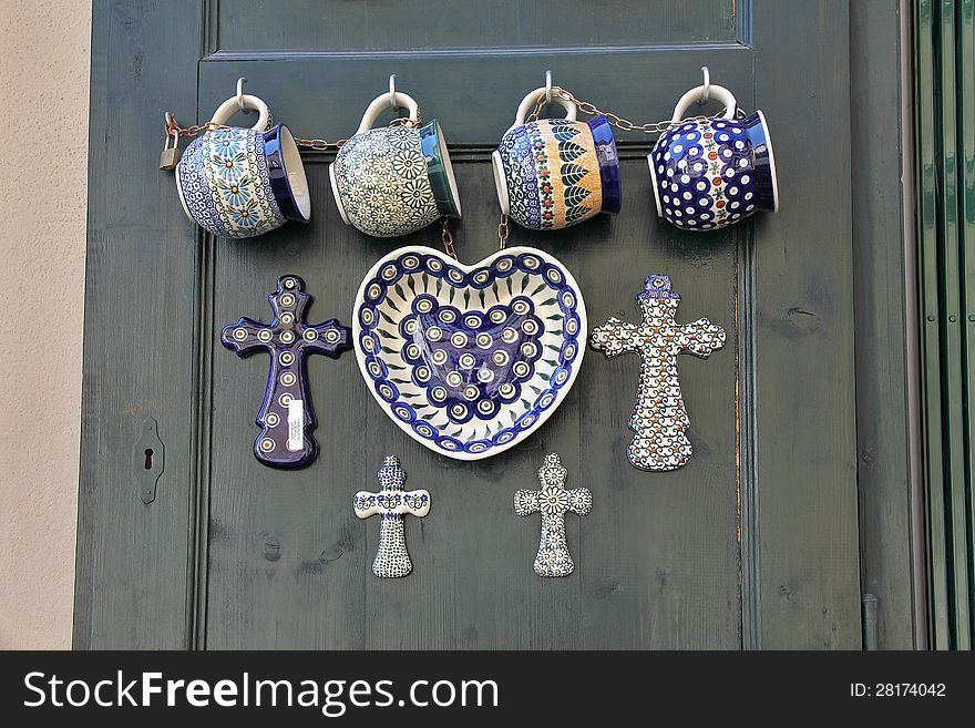 Glazed ceramics.