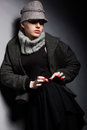 Free Trendy Woman Mod In Woolen Cap And Jacket - Seasonal Collection Royalty Free Stock Photos - 28181508