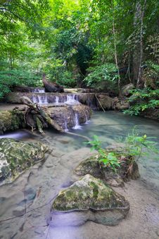 Deep Forest Waterfall &x28;Erawan Waterfall&x29; Stock Photo