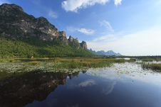 Free Beautiful Mountain And Lake With Lotus Royalty Free Stock Images - 28182299