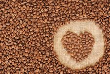 Heart Coffee Frame Made Of Coffee Beans Royalty Free Stock Photography
