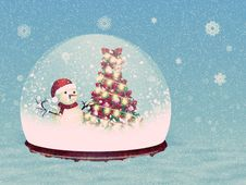 Free Snow Globe With Snowman Royalty Free Stock Photos - 28183258
