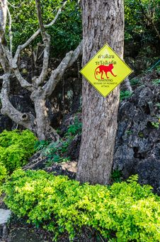 Free Warning Monkeys Attack Sign Stock Photo - 28187550